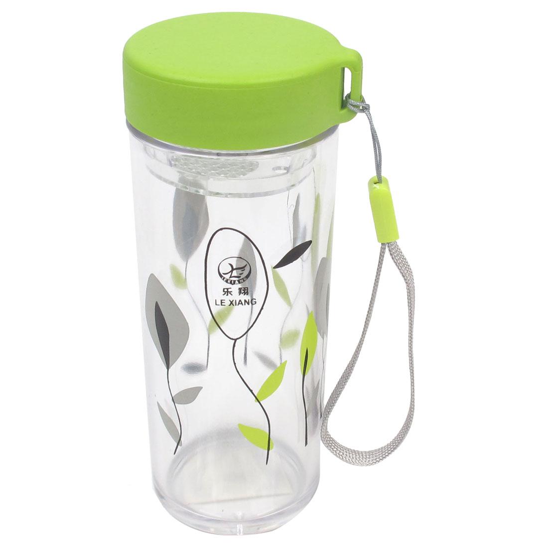 220ml Leaves Pattern Cylinder Shape Clear Plastic Water Bottle Holder