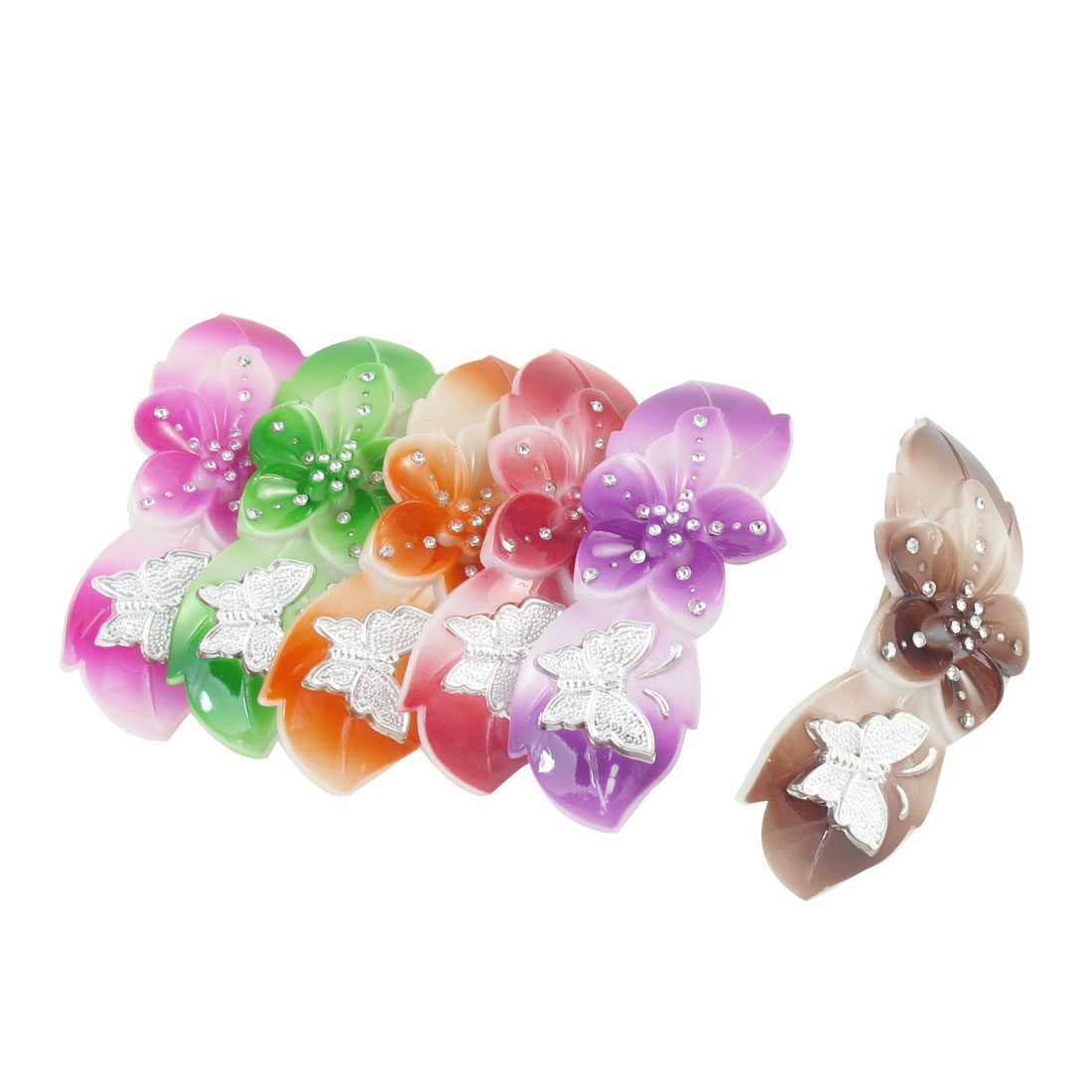 6 Pcs Rhinestone Detailing Flower Buterfly Pattern Hair Clips Green Red