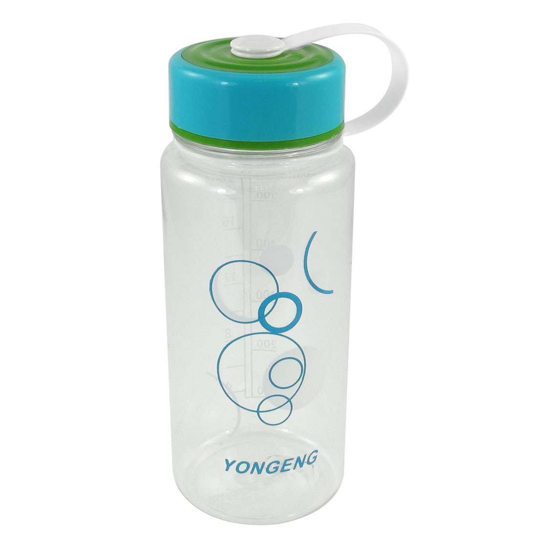 Blue Green Lid Clear Plastic Circle Print Water Drinking Bottle 600ml