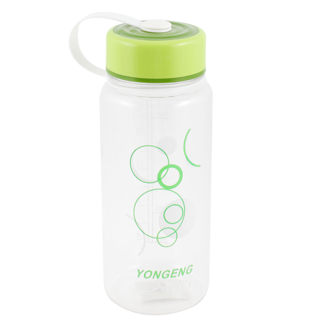 600ml Plastic Portable Handle Green White Circle Printed Sports Water Bottle