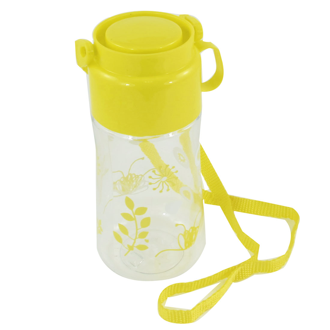 Students Portable Yellow Cap Rabbit Print Clear Plastic Tea Water Bottle 520ml
