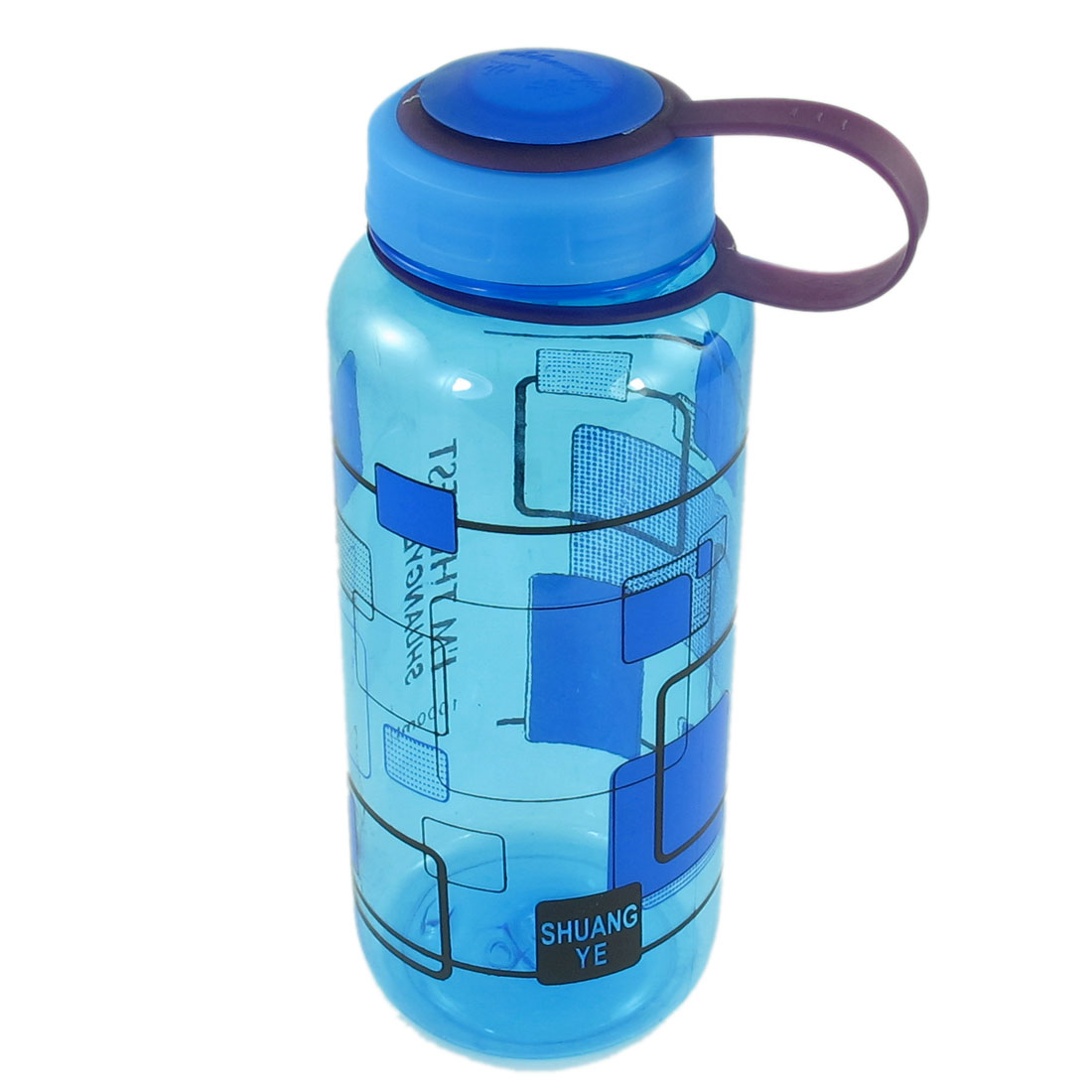 Outdoor Sports Grid Pattern Blue Clear Plastic Tea Water Drink Bottle 1000ml