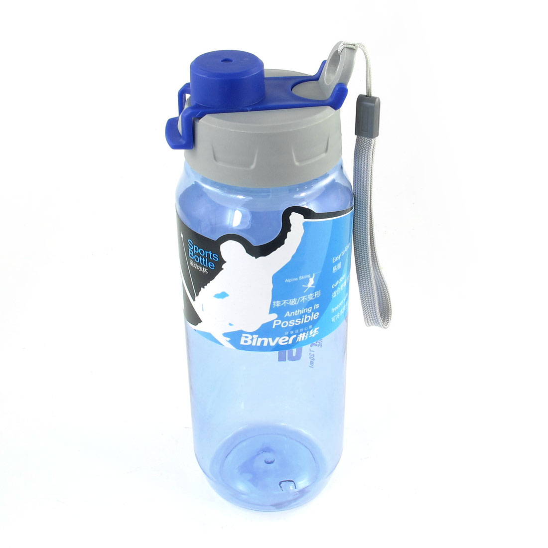 Detachable Hand Strap Gray Blue Lid Clear Plastic Sports Water Bottle Cup 720ml