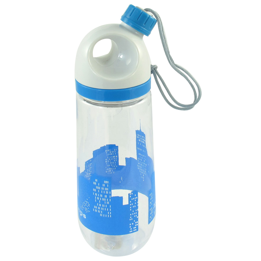 650ml Portable City Pattern Blue White Lid Plastic Clear Water Drinking Bottle