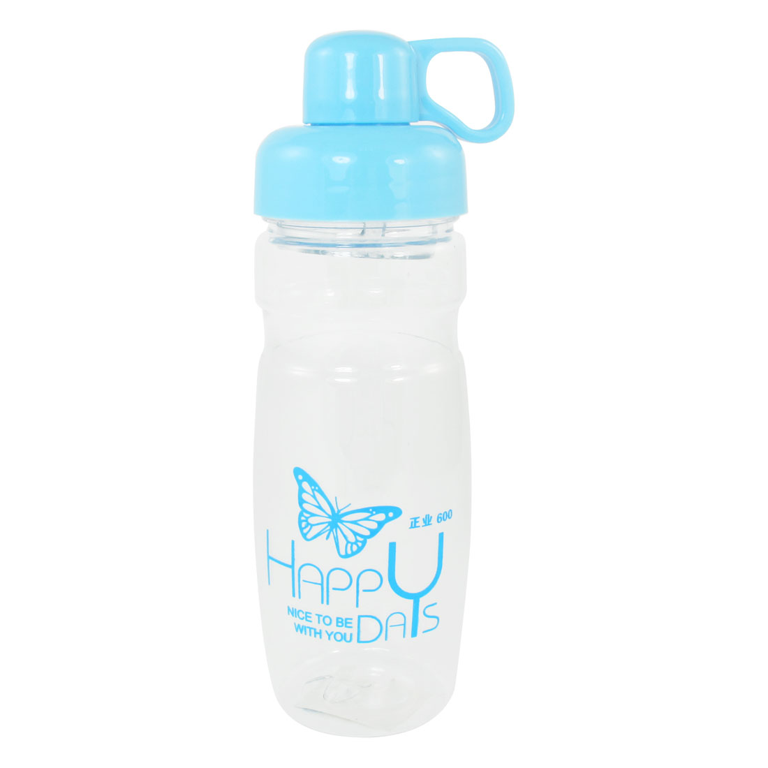 Portable Blue Cap Butterfly Print Clear Plastic Water Bottle Drink Cup 420ml