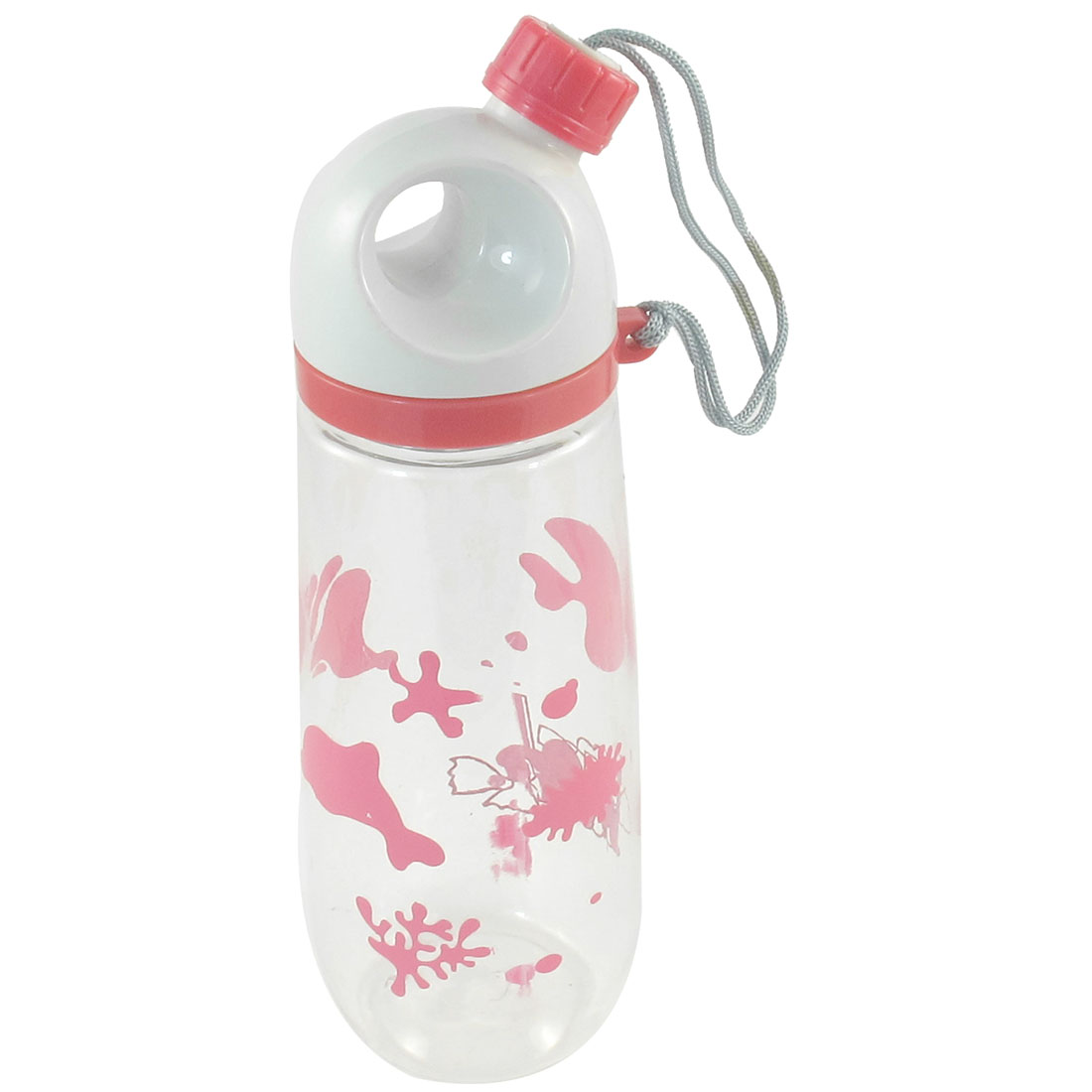 Cylinder Shape Fish Coral Print 650ml Water Drink Bottle Cup Holder Pink Clear