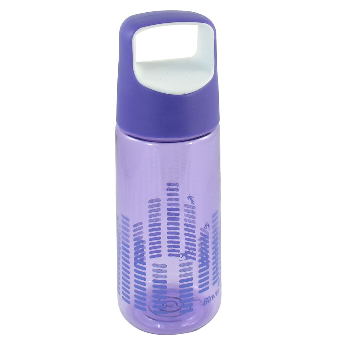 Outdoor Sports Portable Purple White Lid Clear Plastic Tea Water Bottle 550ml