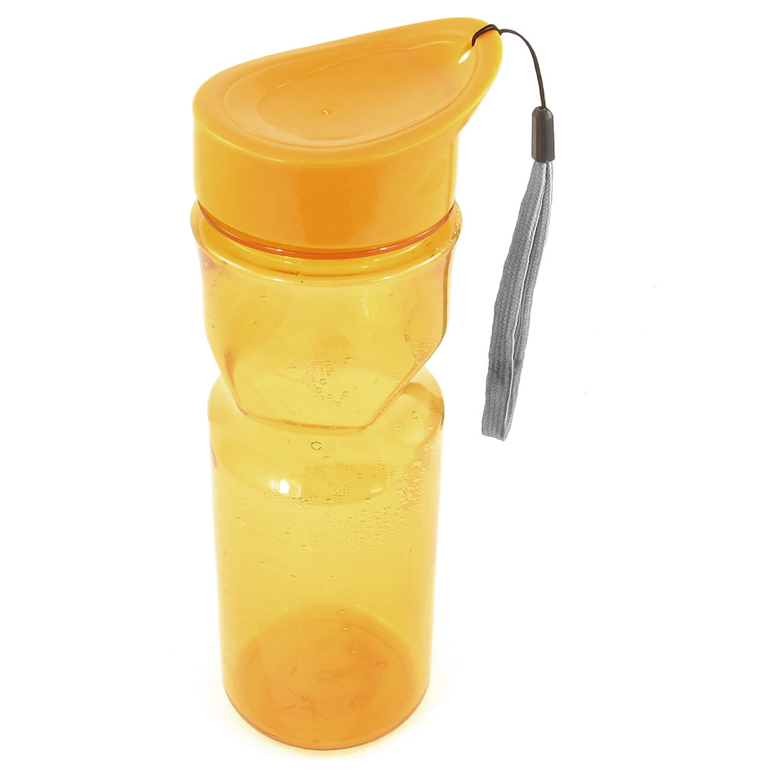 Cylinder Shape Plastic Clear Tea Water Drink Bottle Cup Holder Orange 500ml