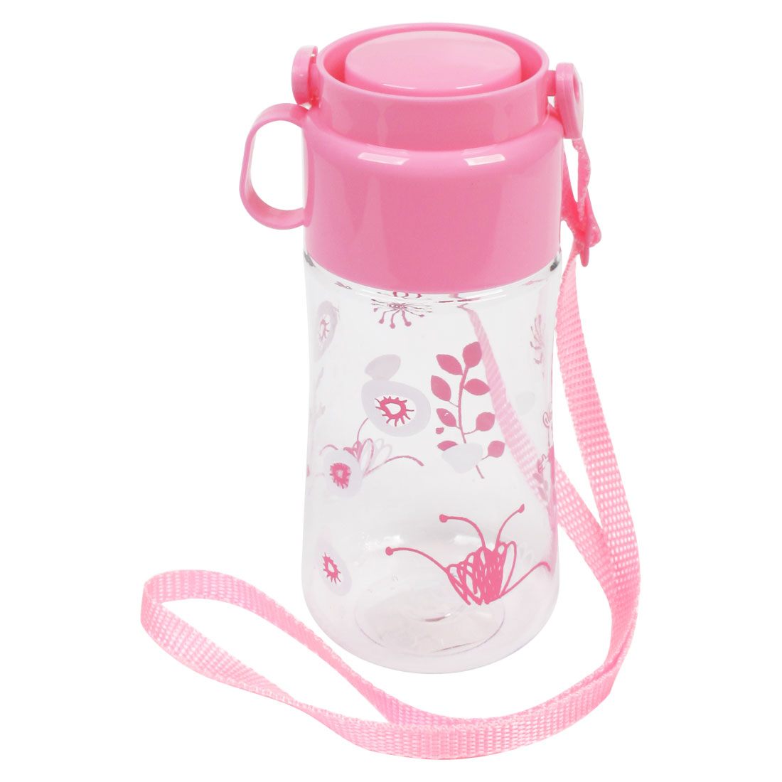 520ml Capacity Pink Lid Rabbit Leaf Pattern Plastic Clear Water Bottle Cup