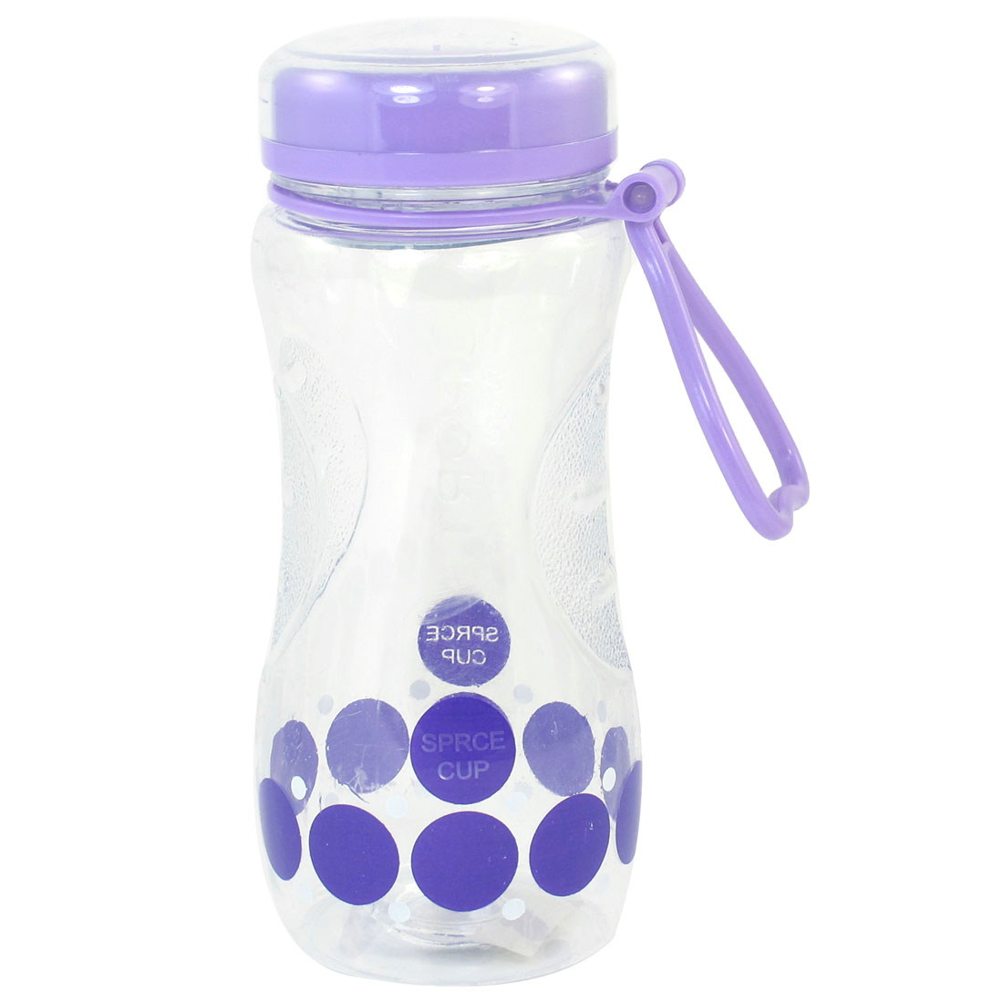 420ml Plastic Lid Purple Round Print Clear Sports Water Drinking Bottle Cup