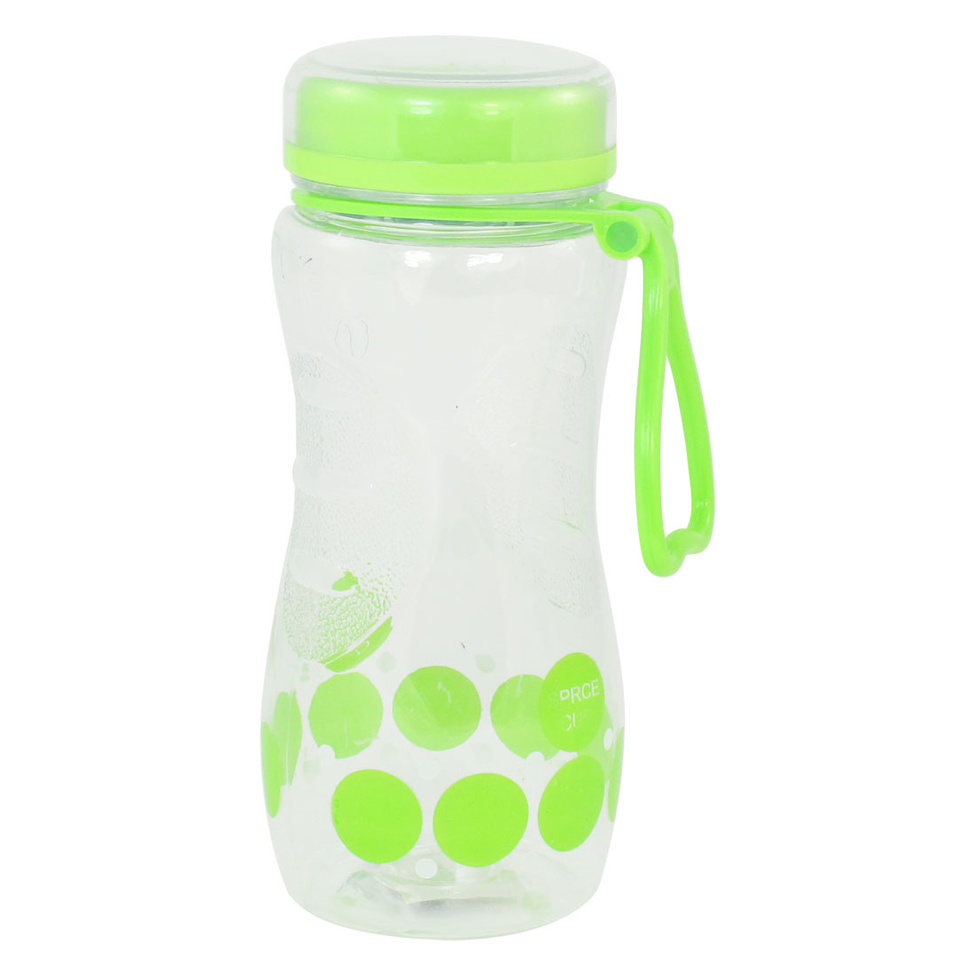 Portable 420ml Capacity Green Round Print Clear Plastic Water Bottle Cup Holder