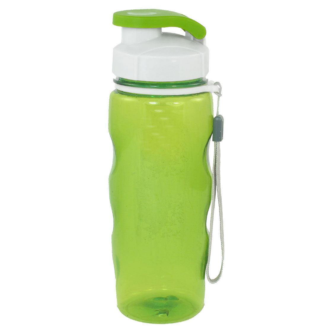 Portable White Cap Green Clear Plastic Tea Water Drink Bottle Cup 530ml