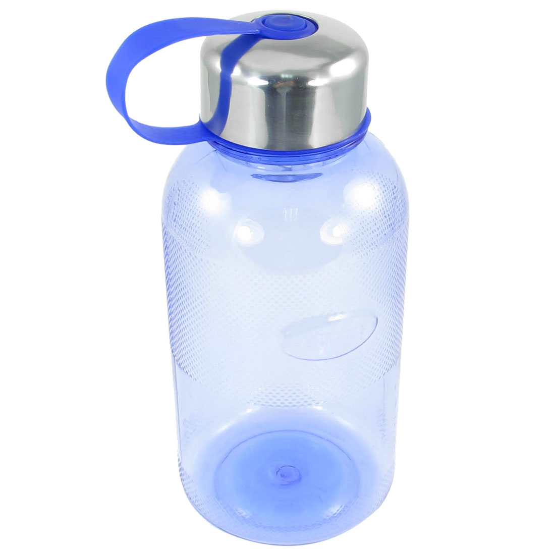 Hiking Camping 900ml Silver Tone Cap Blue Clear Plastic Water Bottle Holder