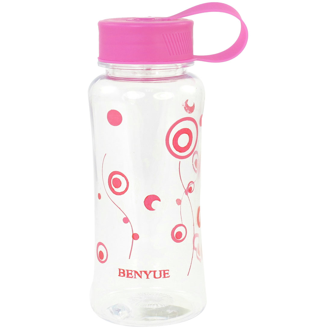Portable Fuchsia Lid Circle Pattern Clear Plastic Water Drink Bottle Cup 450ml