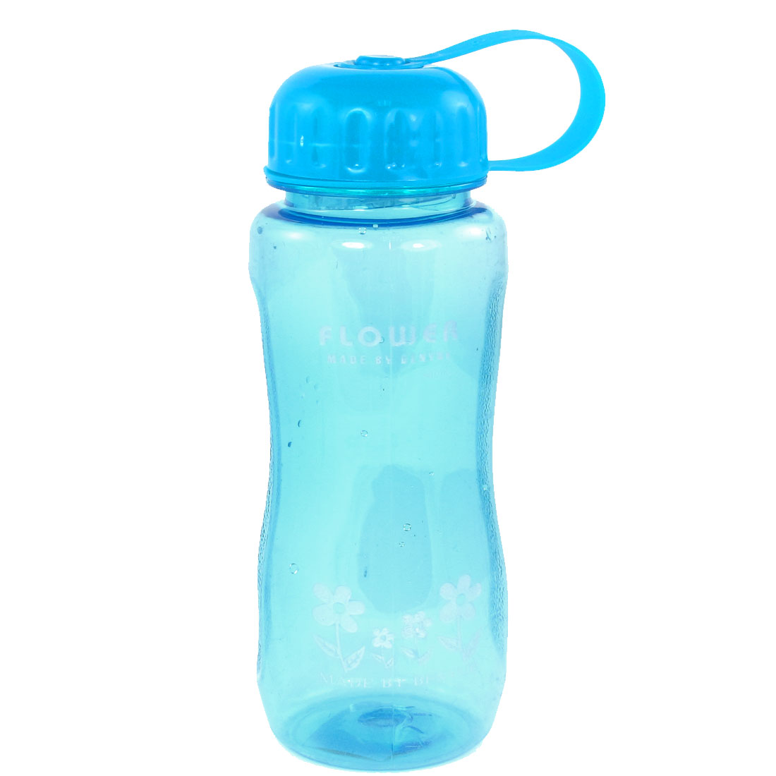 Blue Cap Flower Print Cylinder Shape Clear Plastic Water Bottle Cup 400ml