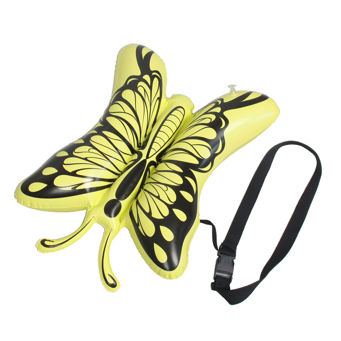 Yellow Butterfly Shaped PVC Inflatable Swimming Floating Bag w Black Waist Belt