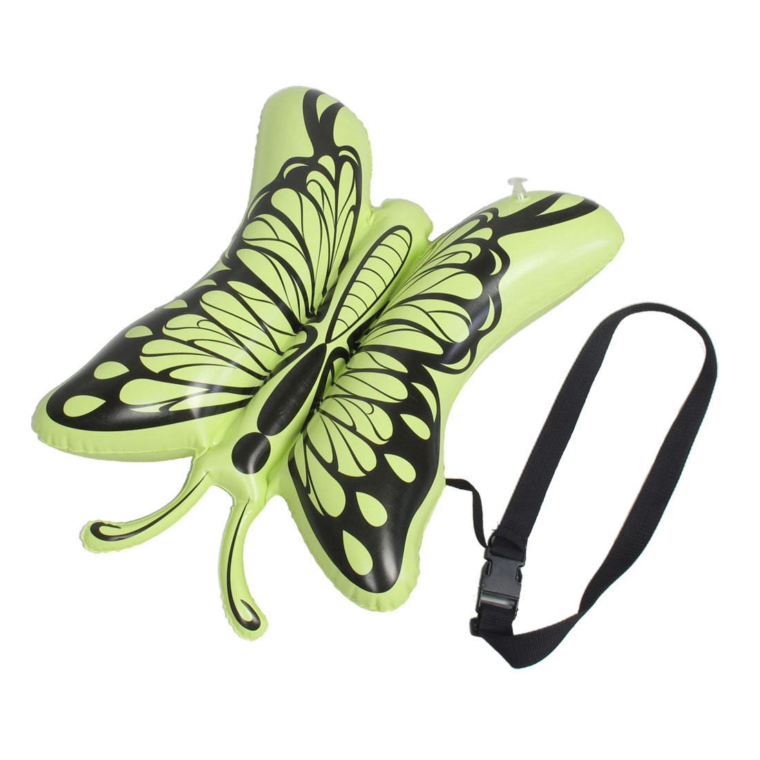 Green Black Butterfly Shape PVC Inflatable Swimming Floating Bag w Waist Belt