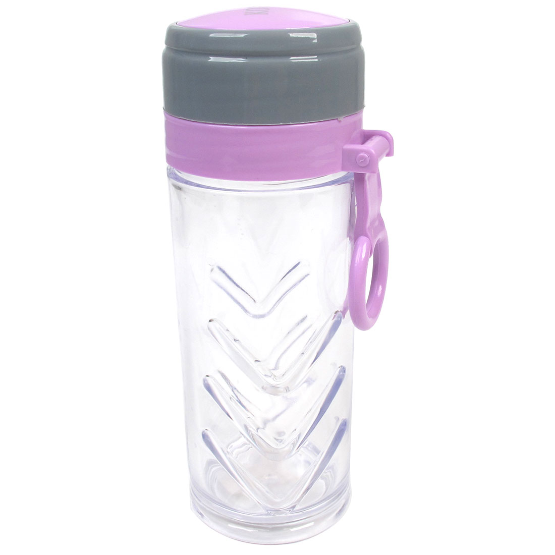 Portable Purple Gray Lid Plastic Clear Water Tea Bottle Cup Holder 220ml