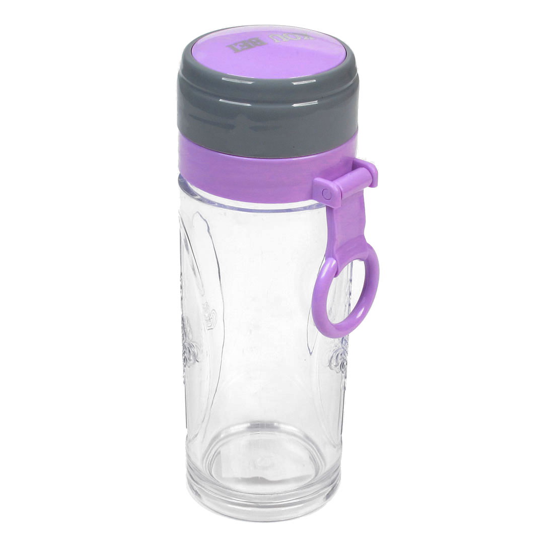 220ml Capacity Gray Purple Cap Chinese Knot Pattern Clear Water Drink Bottle