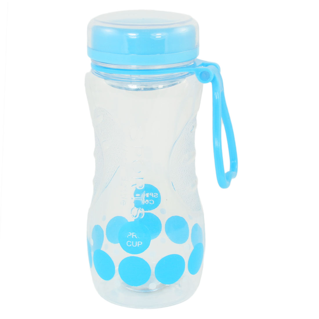 Portable Blue Lid Round Pattern Clear Plastic Water Bottle Drink Cup 420ml