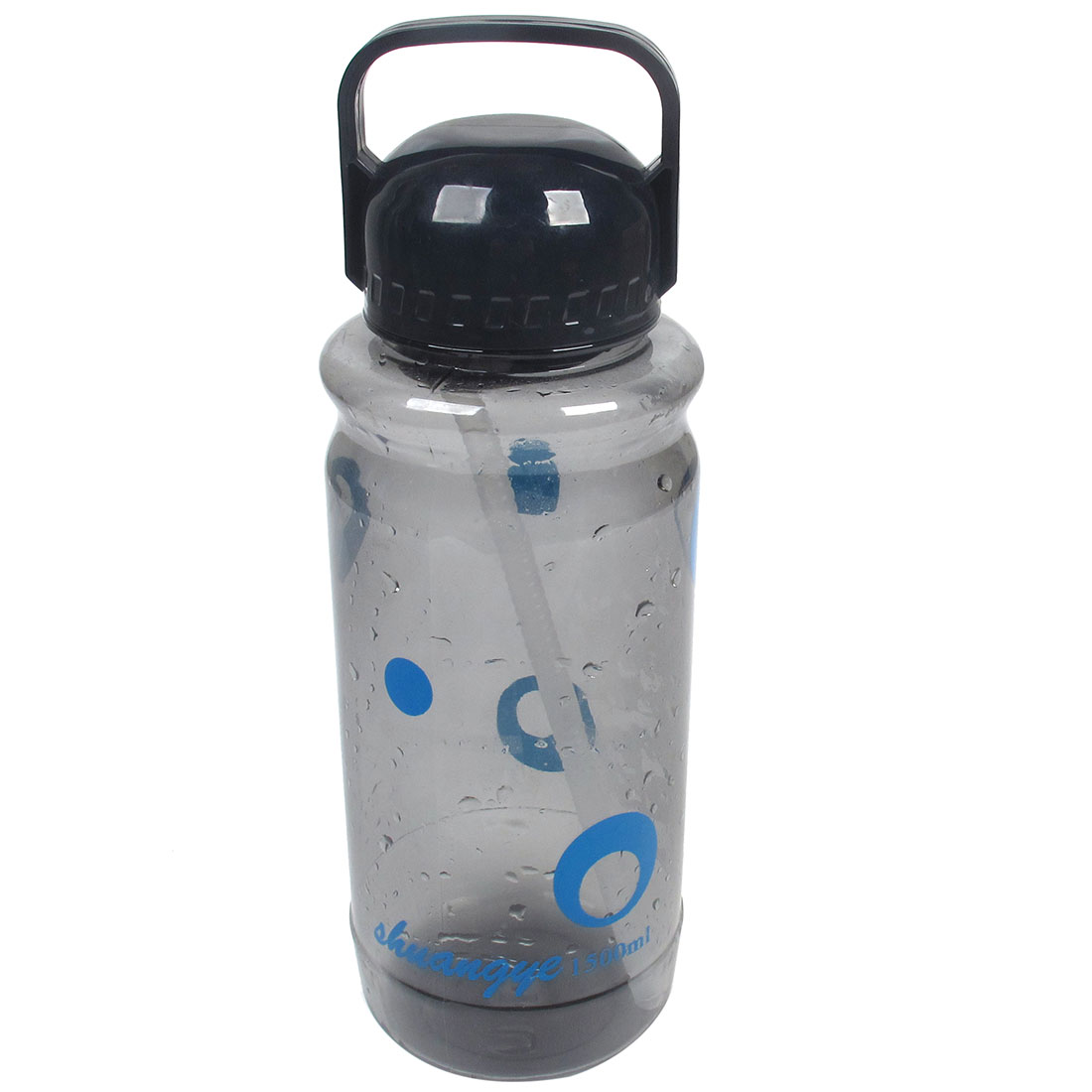 Cylindric Shaped Gray Clear Plastic Water Bottle Cup 1500ml w Suction Tube