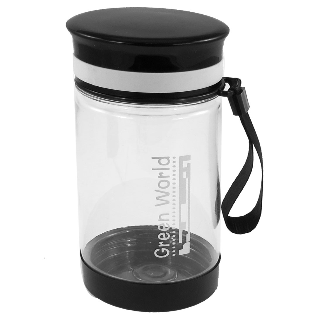 Students Portable Cylinder Shape Black Lid Plastic Clear Water Bottle 350ml