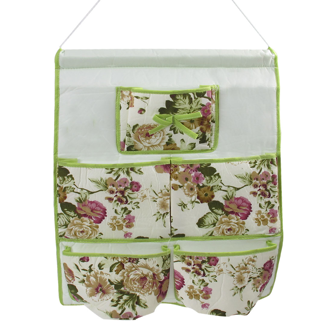 Floral Print 5 Pockets Cell Phone Wall Hanging Storage Organizer Bag Light Green