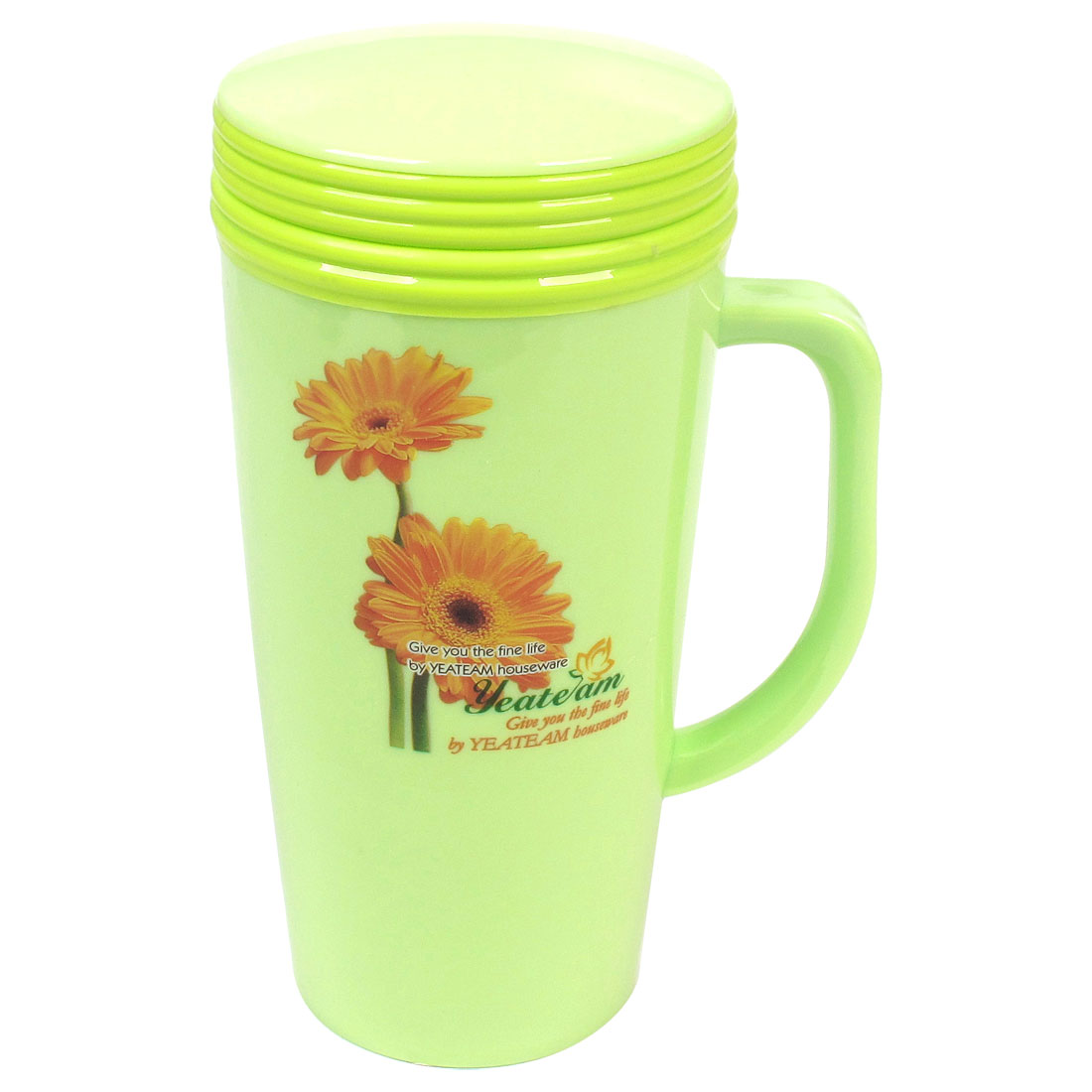 Household Office Chrysanthemum Print Green Plastic Vacuum Flask Bottle 400ml
