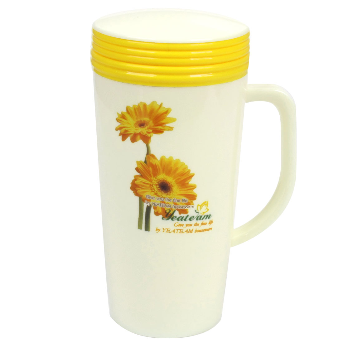 Home Office 400ml Capacity Chrysanthemum Print Plastic Vacuum Flask Bottle