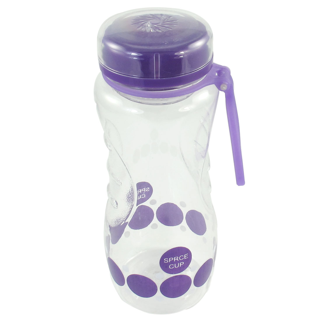 Portable Purple Lid Clear Plastic Circle Print Water Drinking Bottle 650ml