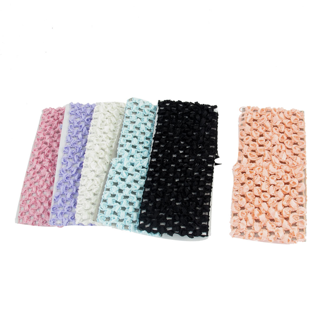 Nylon Choth Bathing Face Washing Elastic Scarf Hair Band Tie Multicolor 6 Pcs