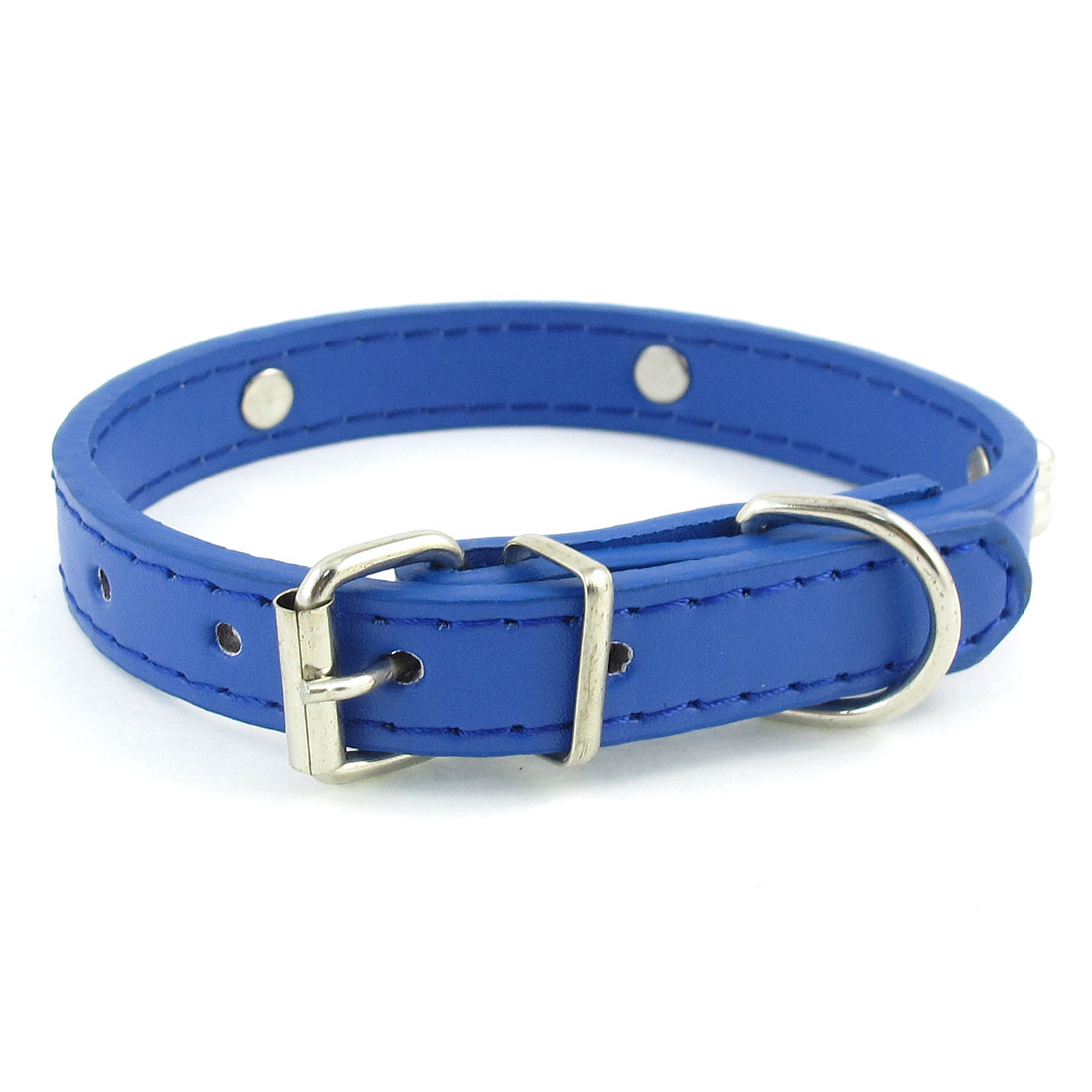 1.4cm Width Blue One Pin Adjustable Faux Leather Bone Accent Pet Neck Collar