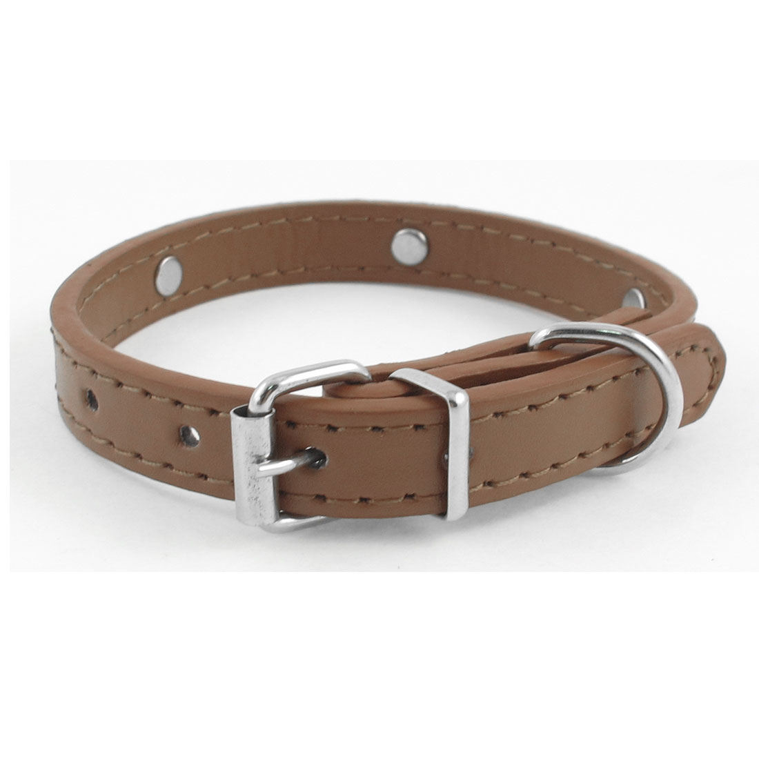 1.4cm Wide Single Prong Buckle Bone Decor Brown Neck Pet Dog Collar Belt