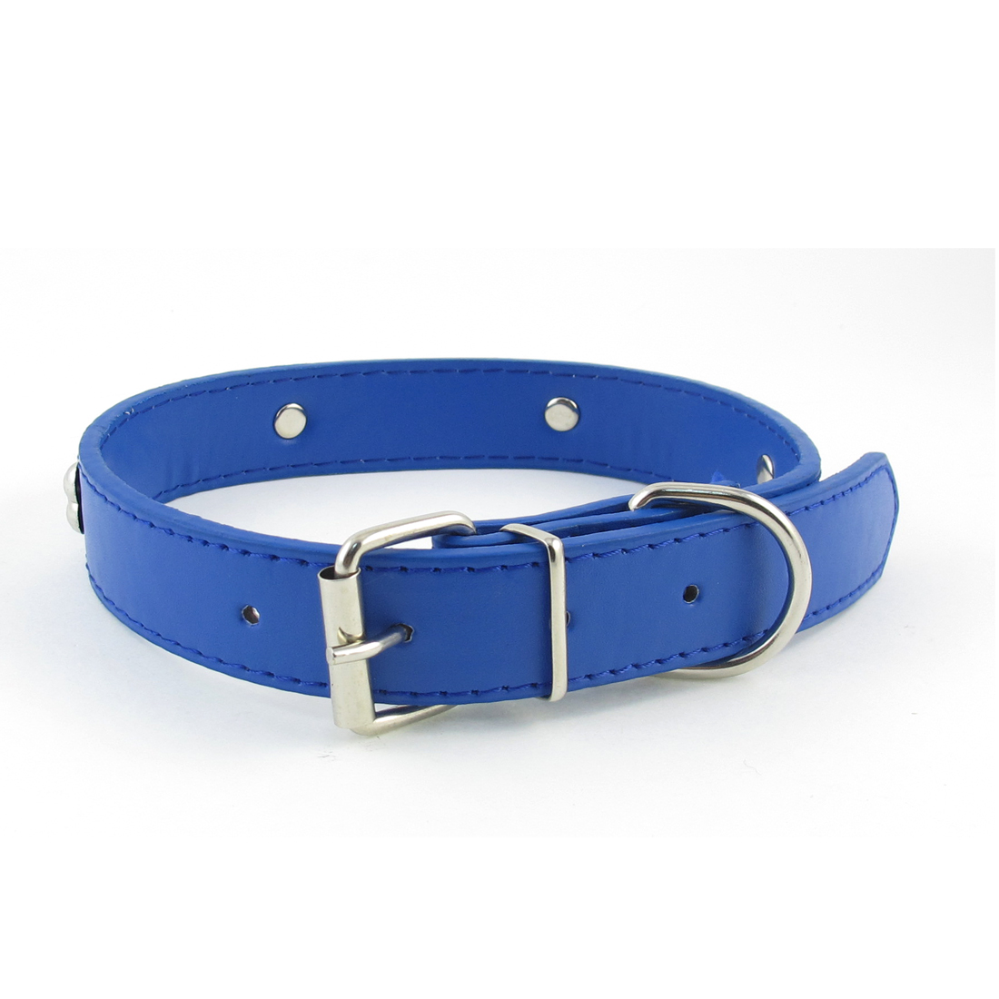 2.4cm Width Blue One Pin Adjustable Faux Leather Bone Accent Pet Neck Collar