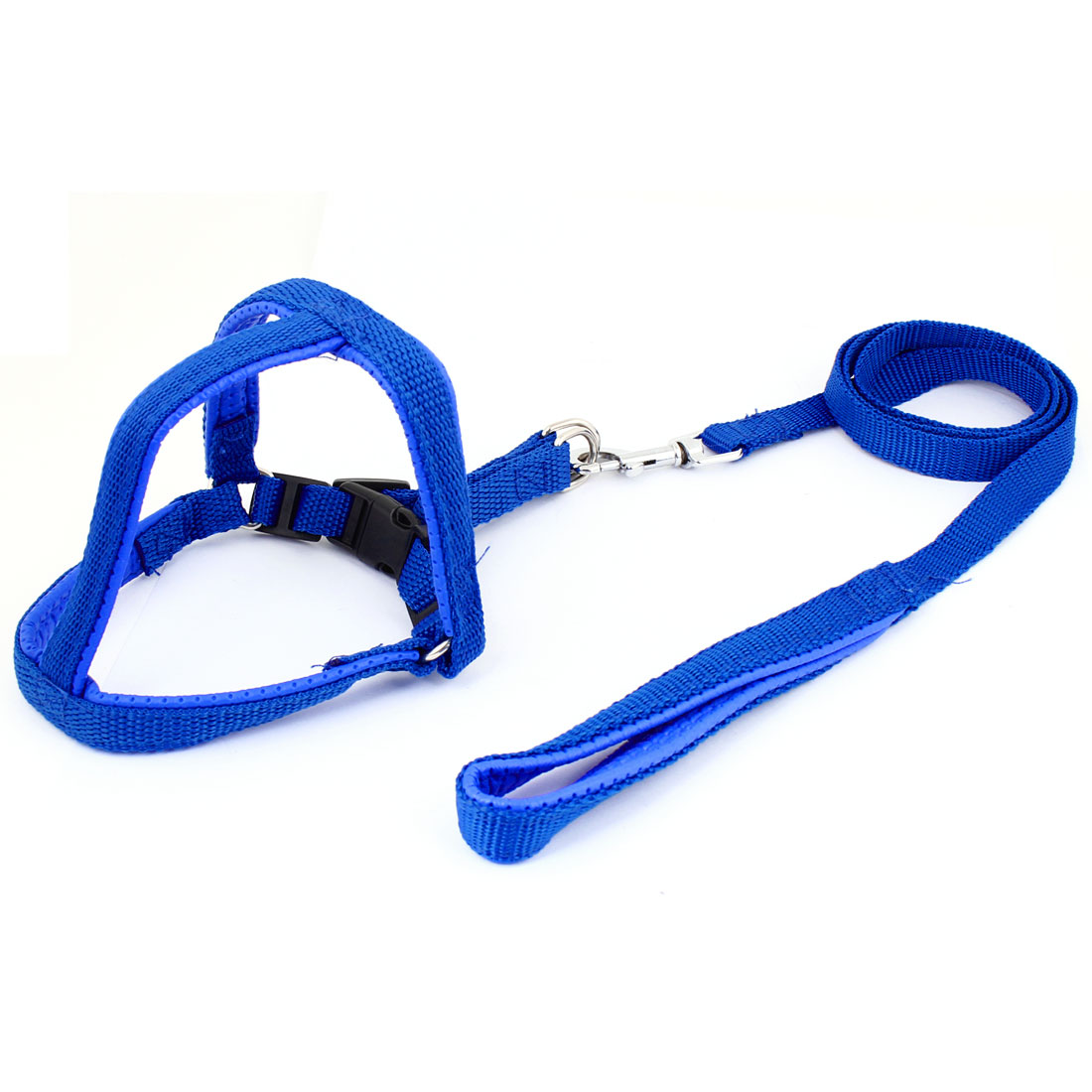 "Pet Dog Blue Nylon 0.59"" Wide Rope Adjustable Harnless with Lead Leash S"