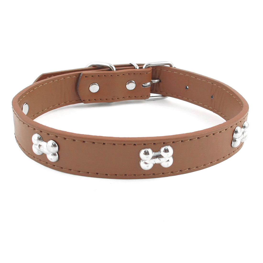2.4cm Width Brown One Pin Adjustable Faux Leather Bone Accent Pet Neck Collar