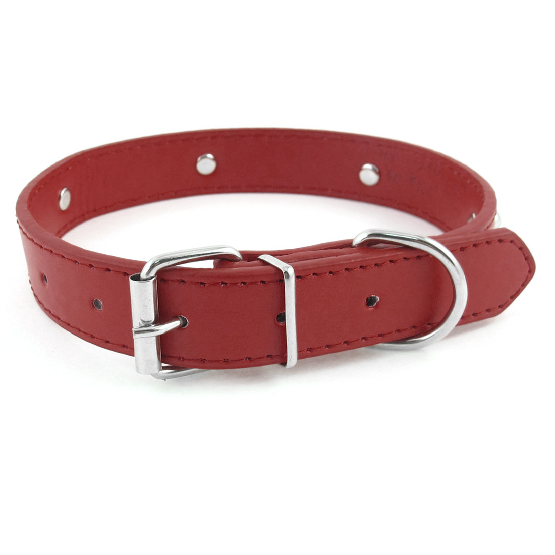 2.4cm Width Red One Pin Adjustable Faux Leather Bone Accent Pet Neck Collar