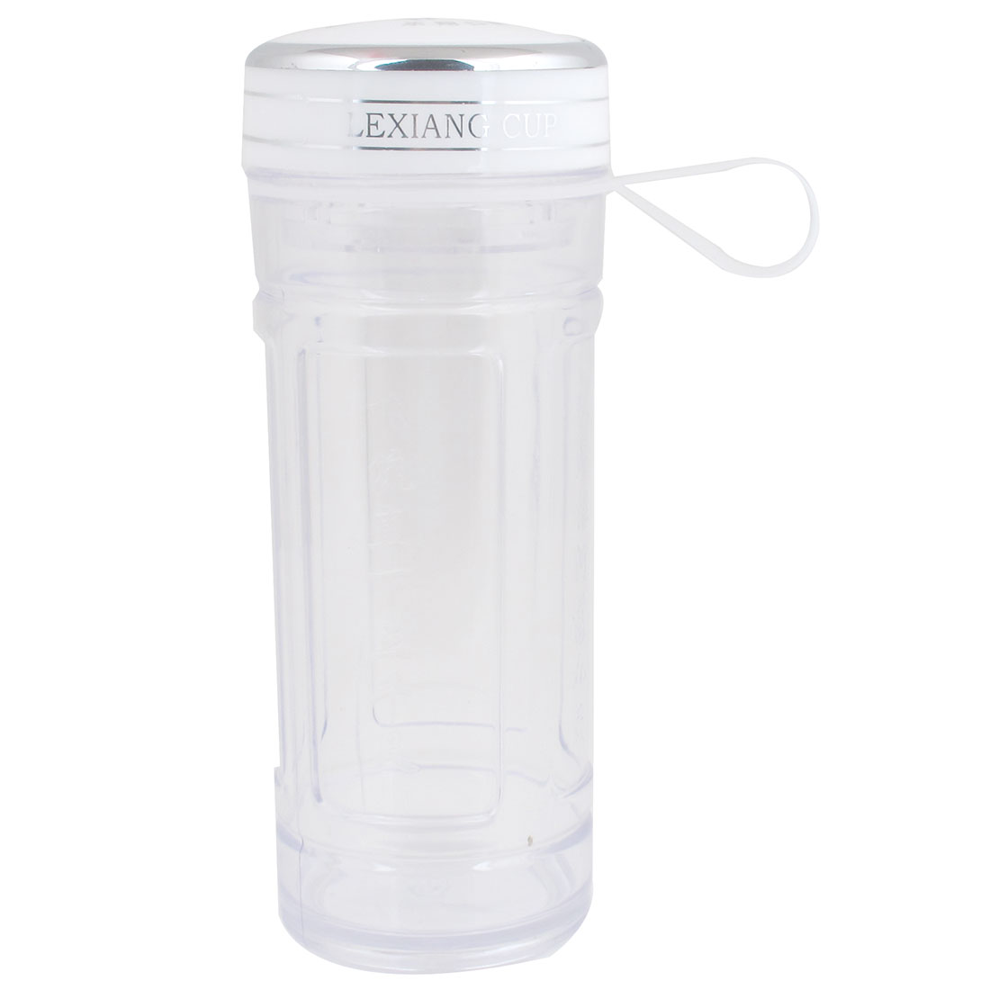 Outdoor Sports White Lid Poem Pattern Clear Plastic Water Bottle Cup 400ml