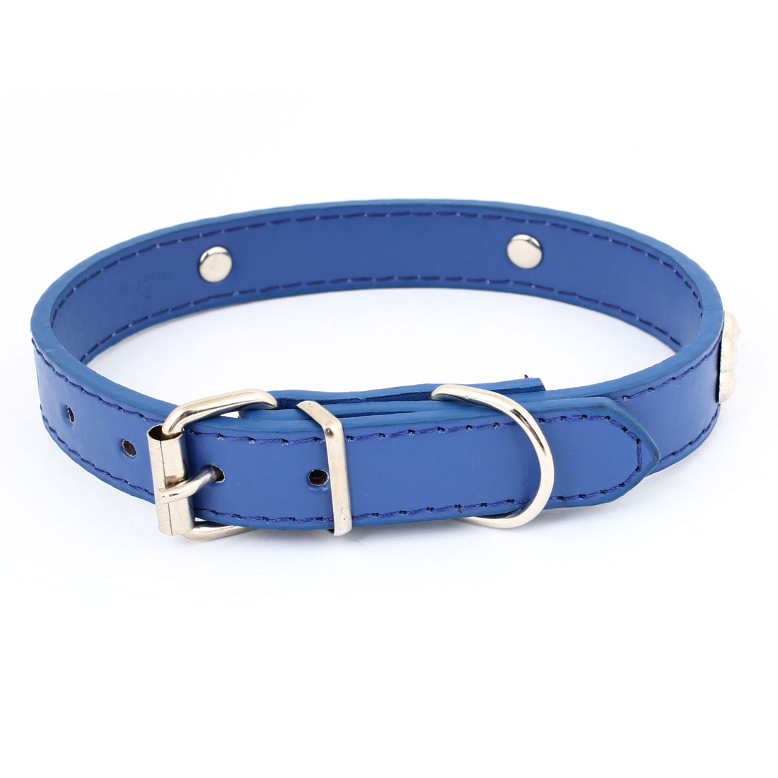 Metal Single Pin Buckle 2cm Wide Bone Detail Faux Leather Pet Dog Collar Blue