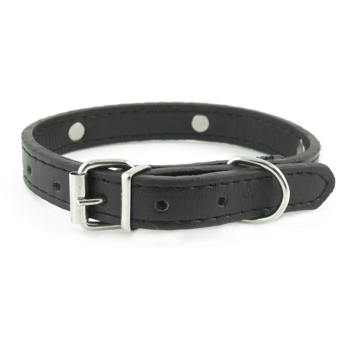 Metal Single Pin Buckle 1.4cm Wide Bone Detail Faux Leather Pet Dog Collar Black
