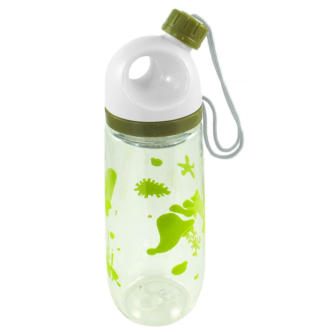 Outdoor Sprots Fish Coral Print Cylinder Shape Clear Plastic Water Bottle 650ml