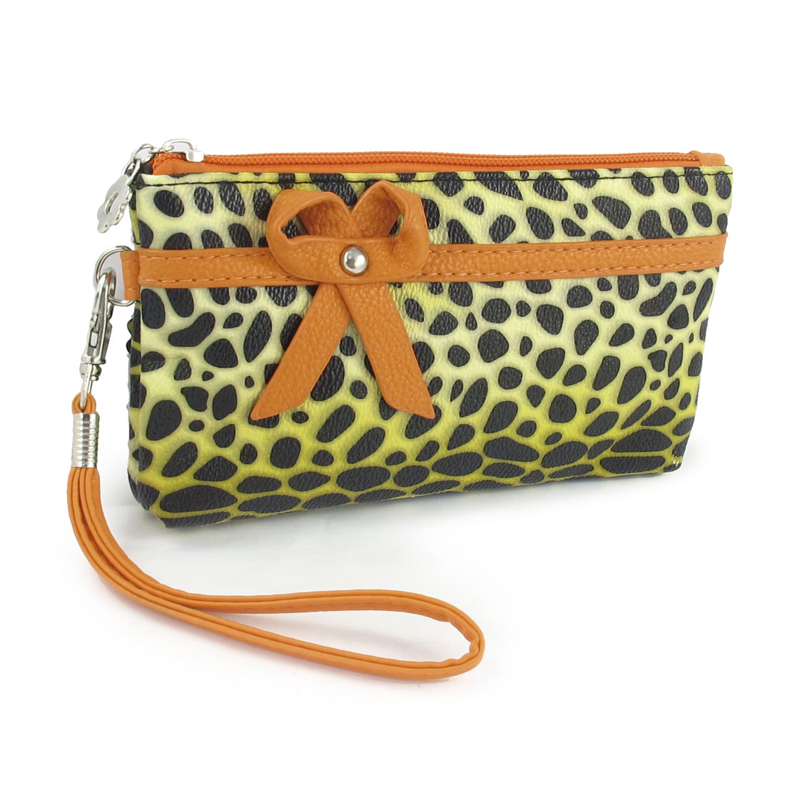 Lady Faux Leather Orange Bowknot Decor Leopard Print Zipper Rectangle Bag Purse