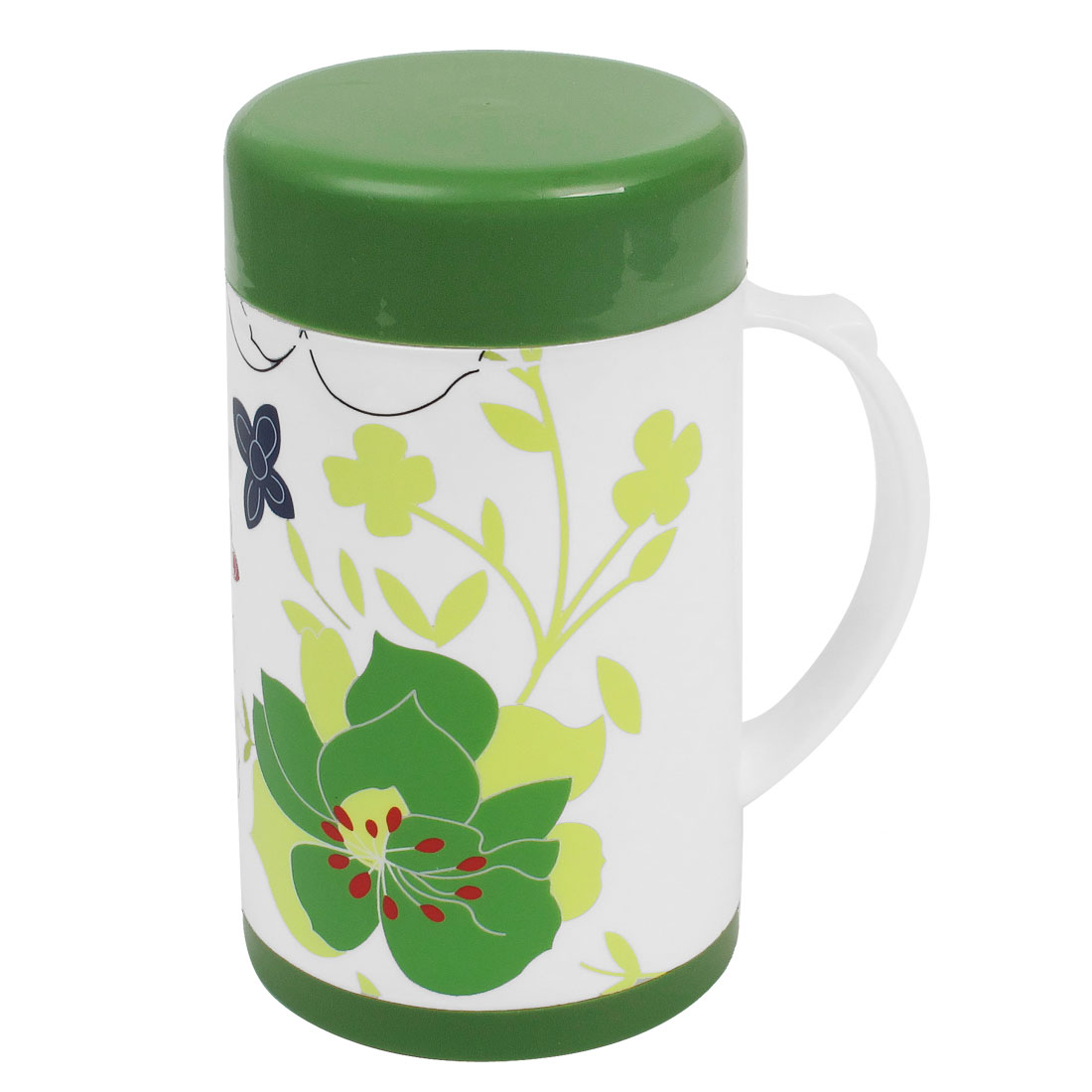 600ml Green Cap Flower Pattern Water Container Plastic Vacuum Flask Bottle