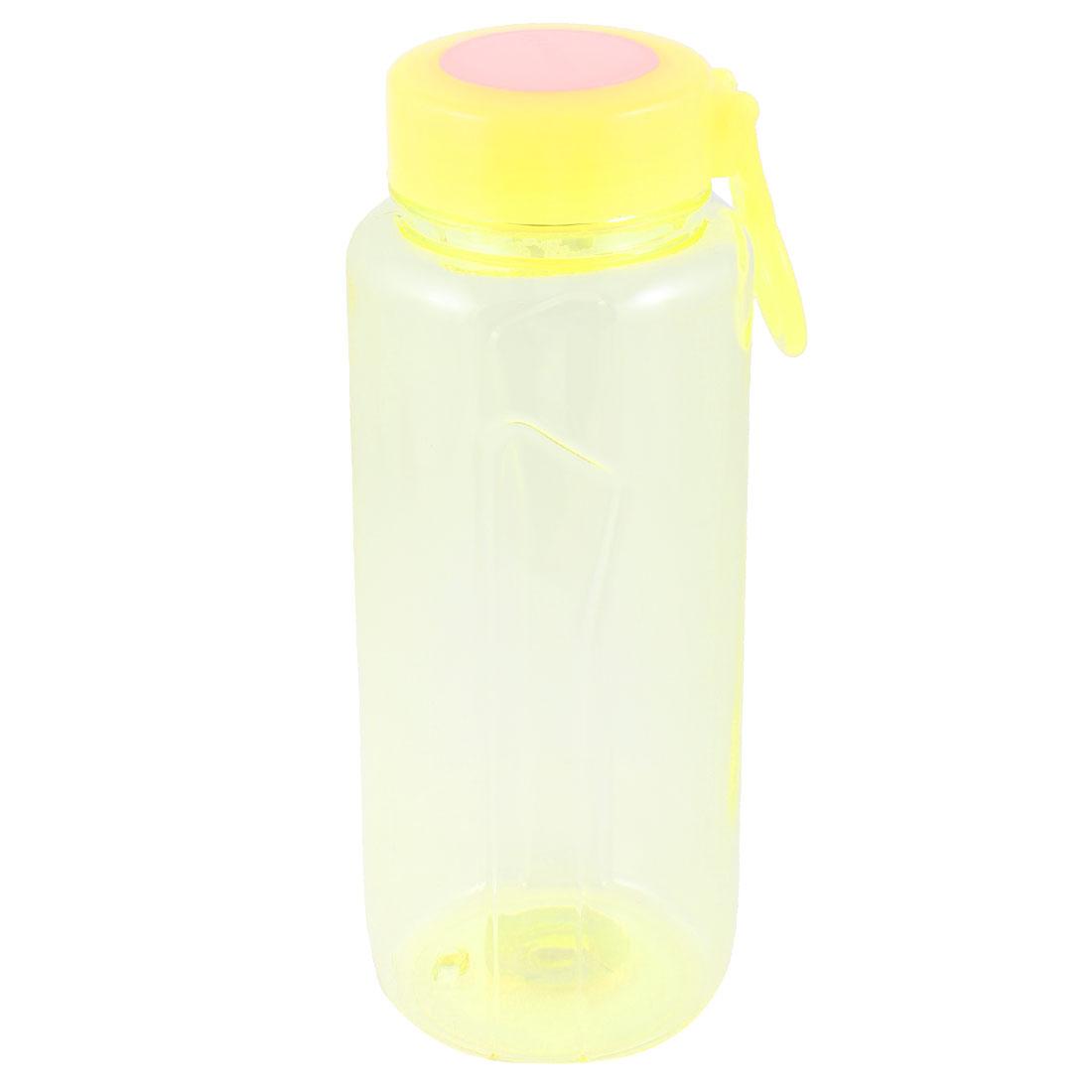 750ML Plastic Drinkware Handheld Sports Water Bottle Clear Yellow