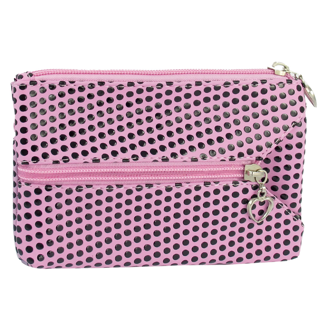 Lady Pink Faux Leather Dots Print Nylon Lining Zippered Wallet w Hand Strap