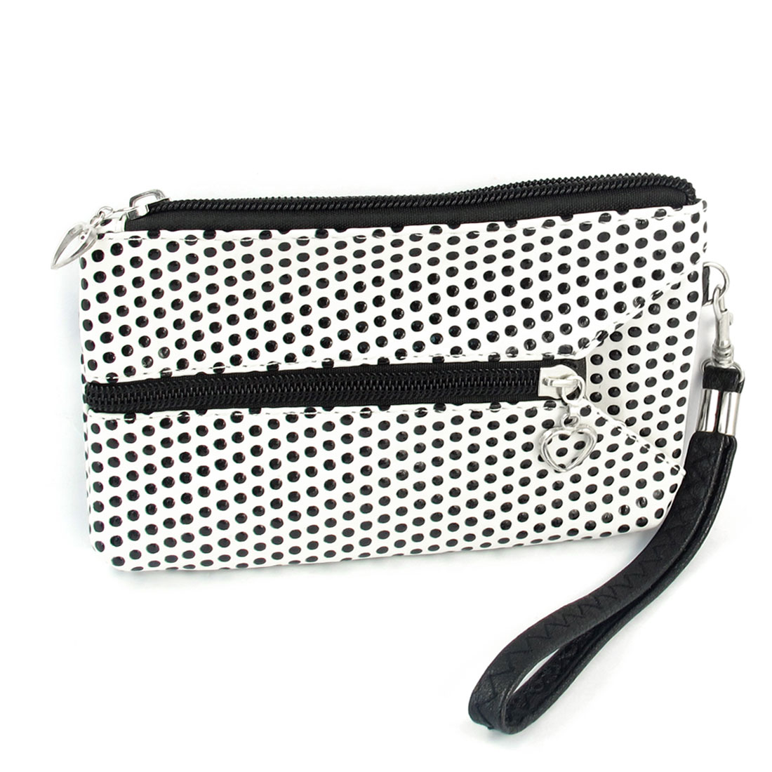 Woman Dots Printed White Faux Leather Zipper Rectangle Bank Card Bag Purse