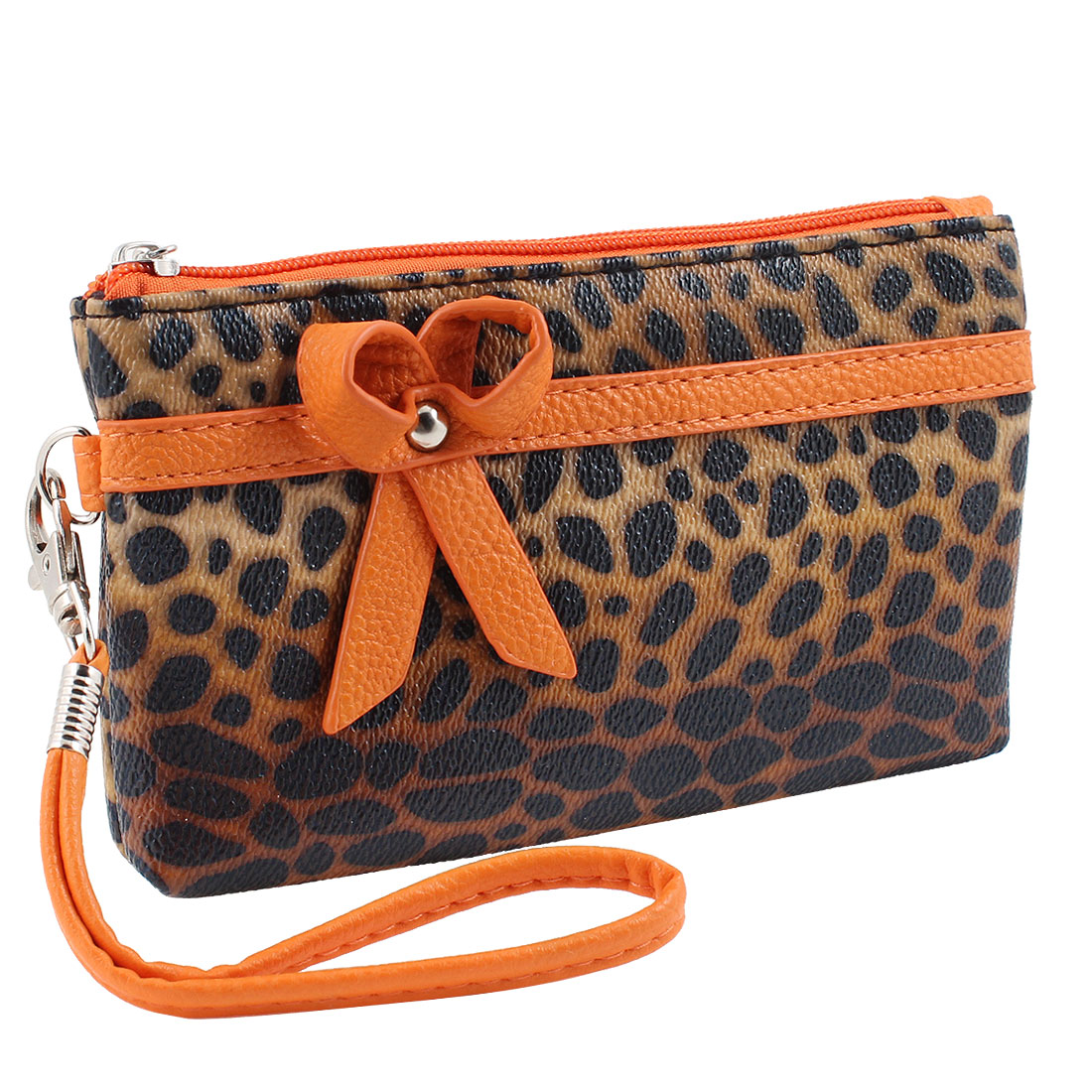 Lady Bowknot Accent Leopard Print Faux Leather Nylon Lining Zip Up Wallet Brown