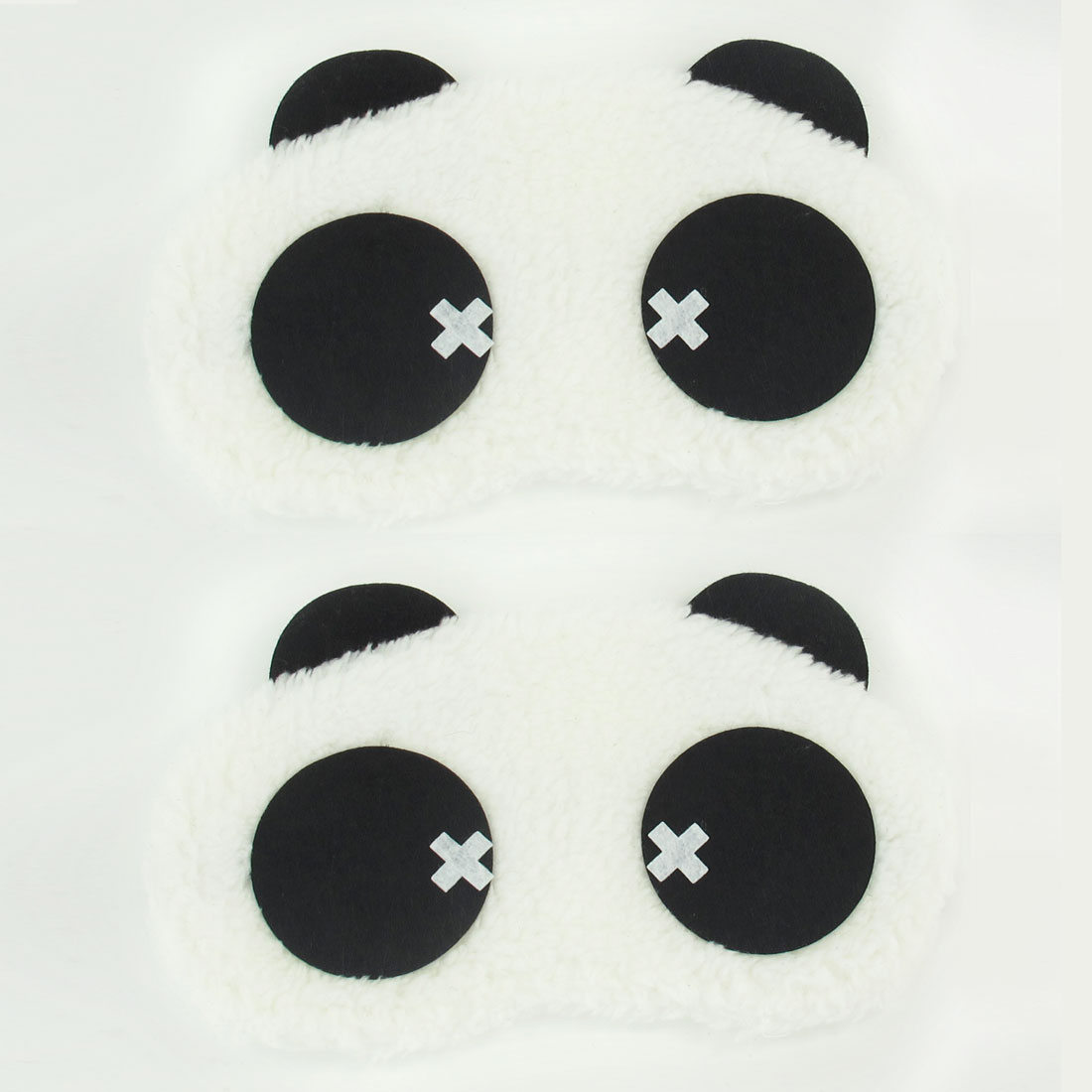 Black White Cross Decor Panda Head Shaped Eye Mask Cover Eyeshade Blindfold 2 Pcs