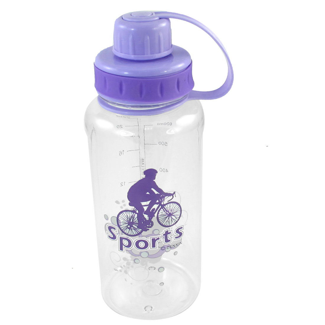 Sportsman Riding Bike Pattern Purple Lid Plastic Clear Sports Water Bottle 750ML