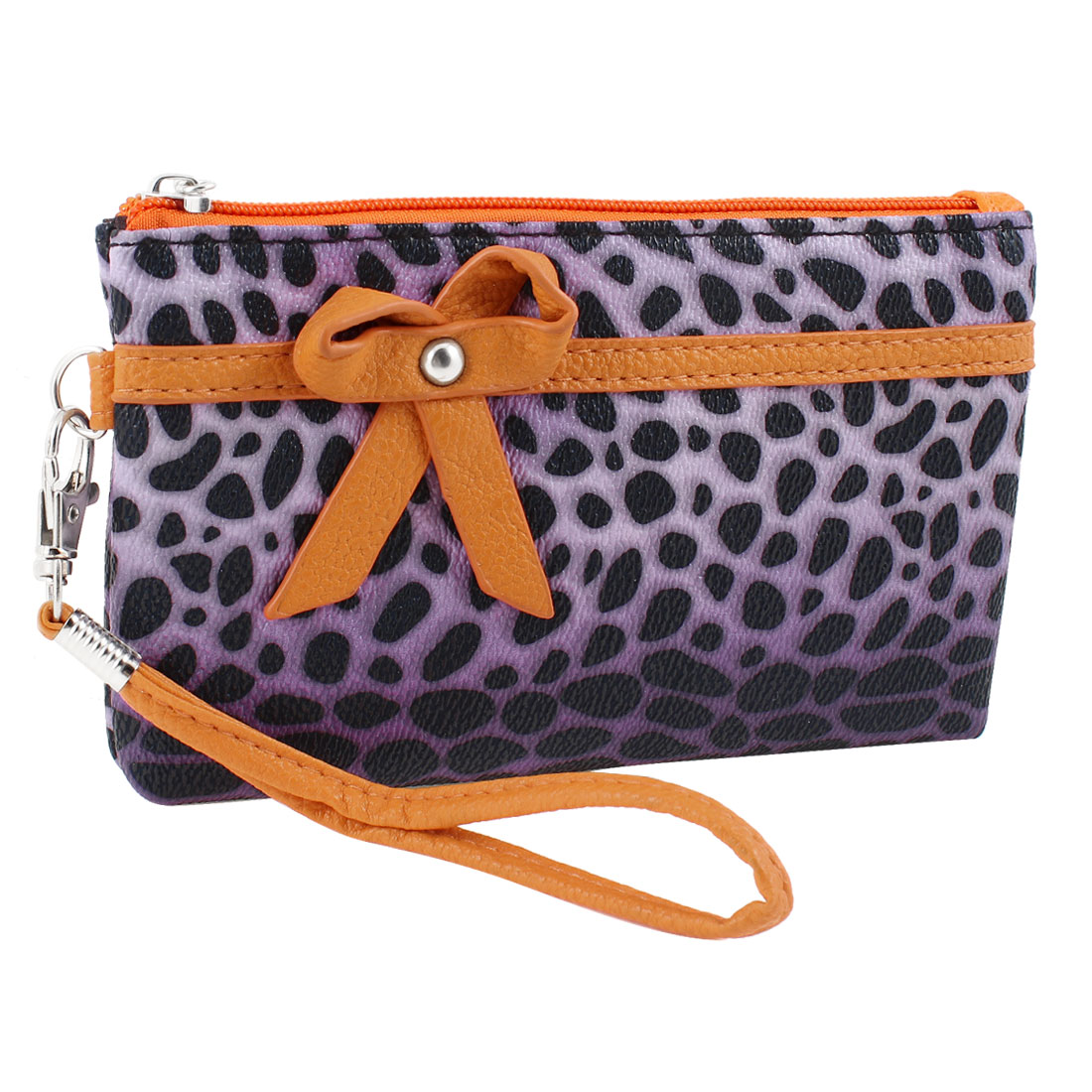 Lady Bowknot Accent Leopard Print Faux Leather Nylon Lining Zip Up Wallet Purple
